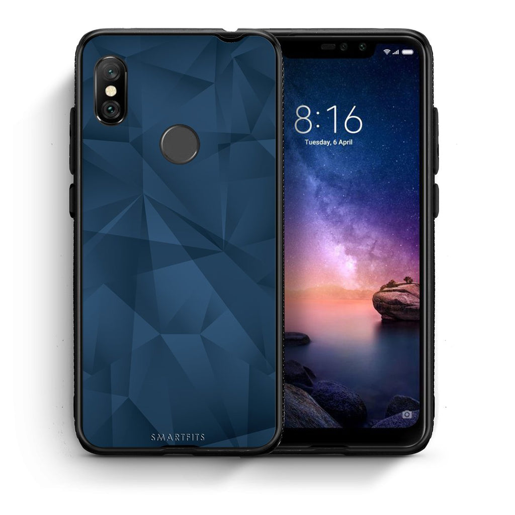 39 - Xiaomi Redmi Note 6 Pro  Blue Abstract Geometric case, cover, bumper
