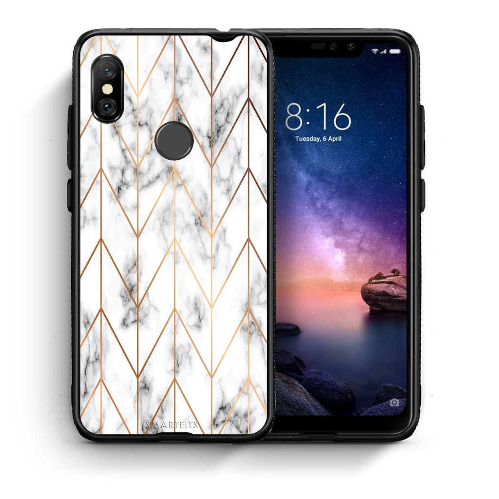 44 - Xiaomi Redmi Note 6 Pro  Gold Geometric Marble case, cover, bumper