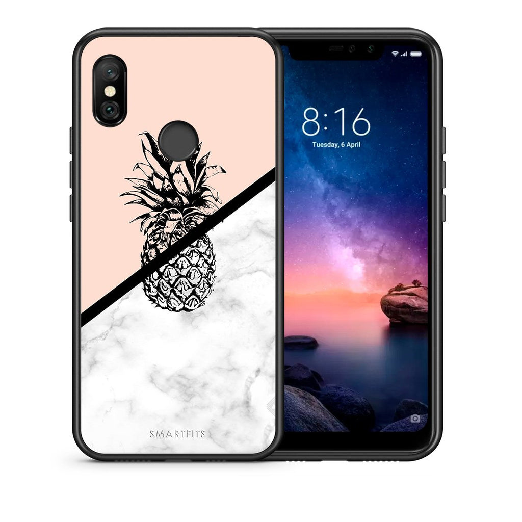 4 - Xiaomi Redmi Note 6 Pro Pineapple Marble case, cover, bumper