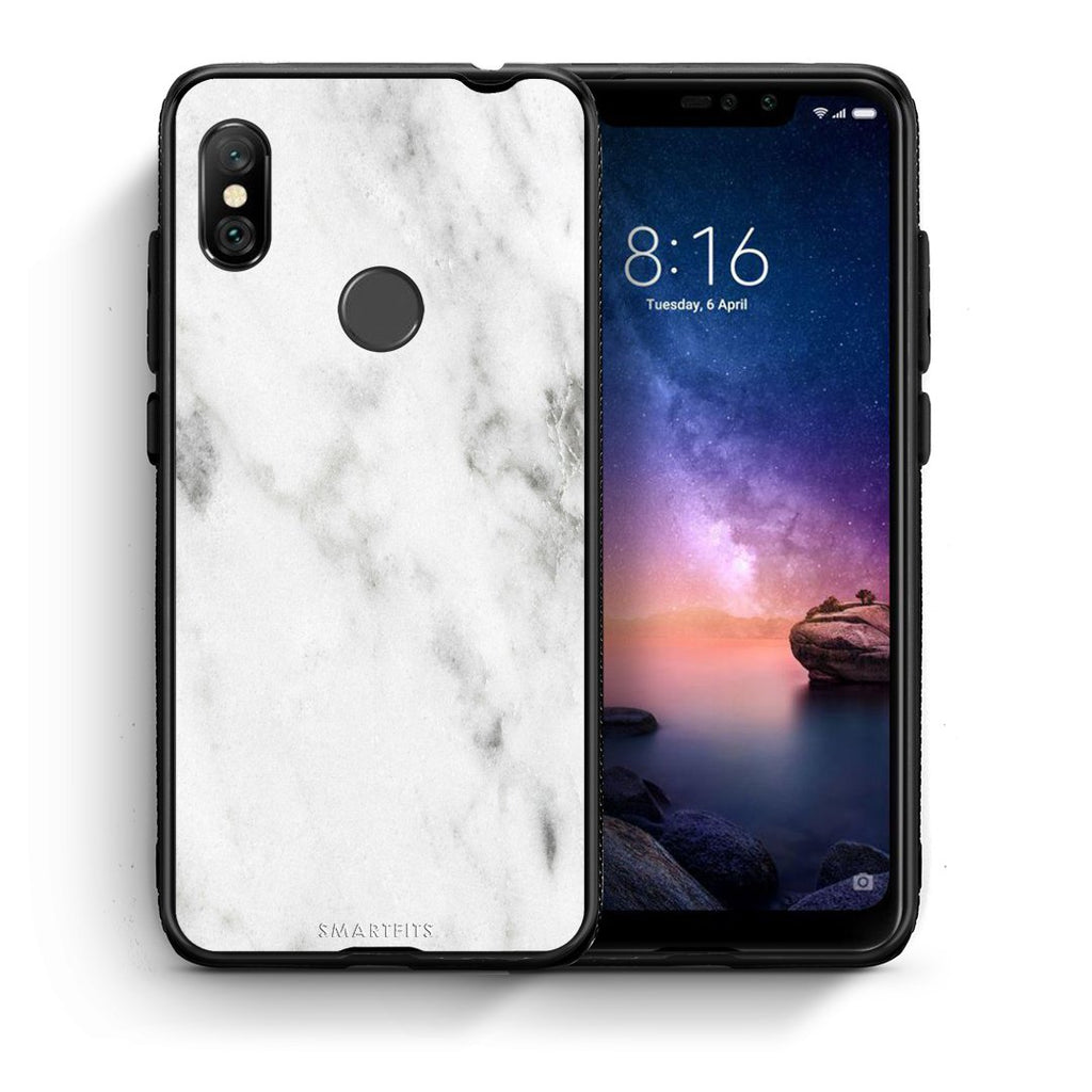 2 - Xiaomi Redmi Note 6 Pro  White marble case, cover, bumper