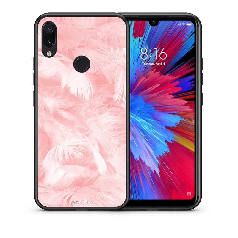 33 - Xiaomi Redmi Note 7  Pink Feather Boho case, cover, bumper