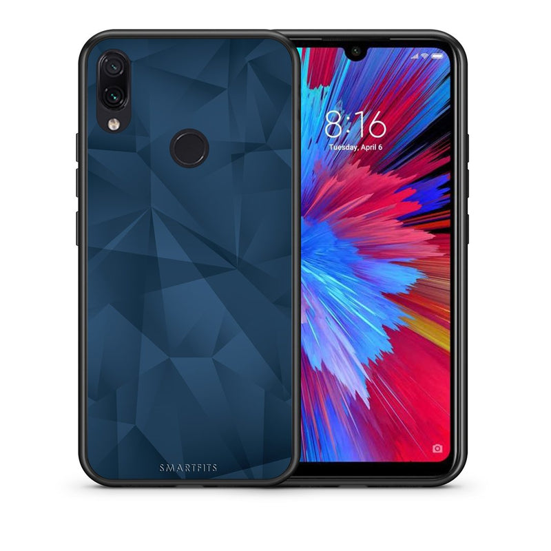 39 - Xiaomi Redmi Note 7  Blue Abstract Geometric case, cover, bumper