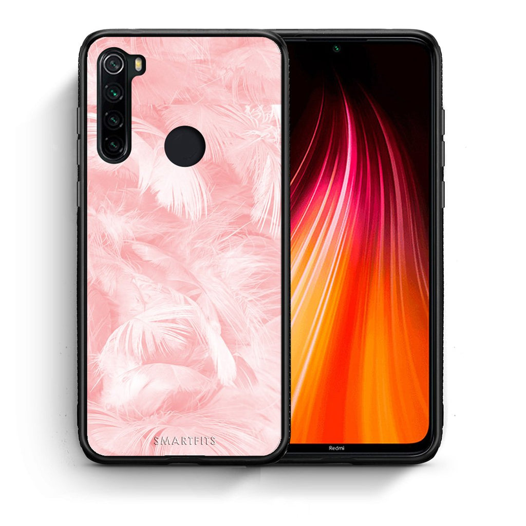 33 - Xiaomi Redmi Note 8 Pink Feather Boho case, cover, bumper