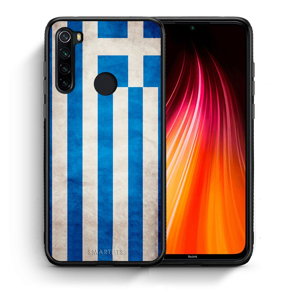 Θήκη Xiaomi Redmi Note 8 Greek Flag από τη Smartfits με σχέδιο στο πίσω μέρος και μαύρο περίβλημα | Xiaomi Redmi Note 8 Greek Flag case with colorful back and black bezels