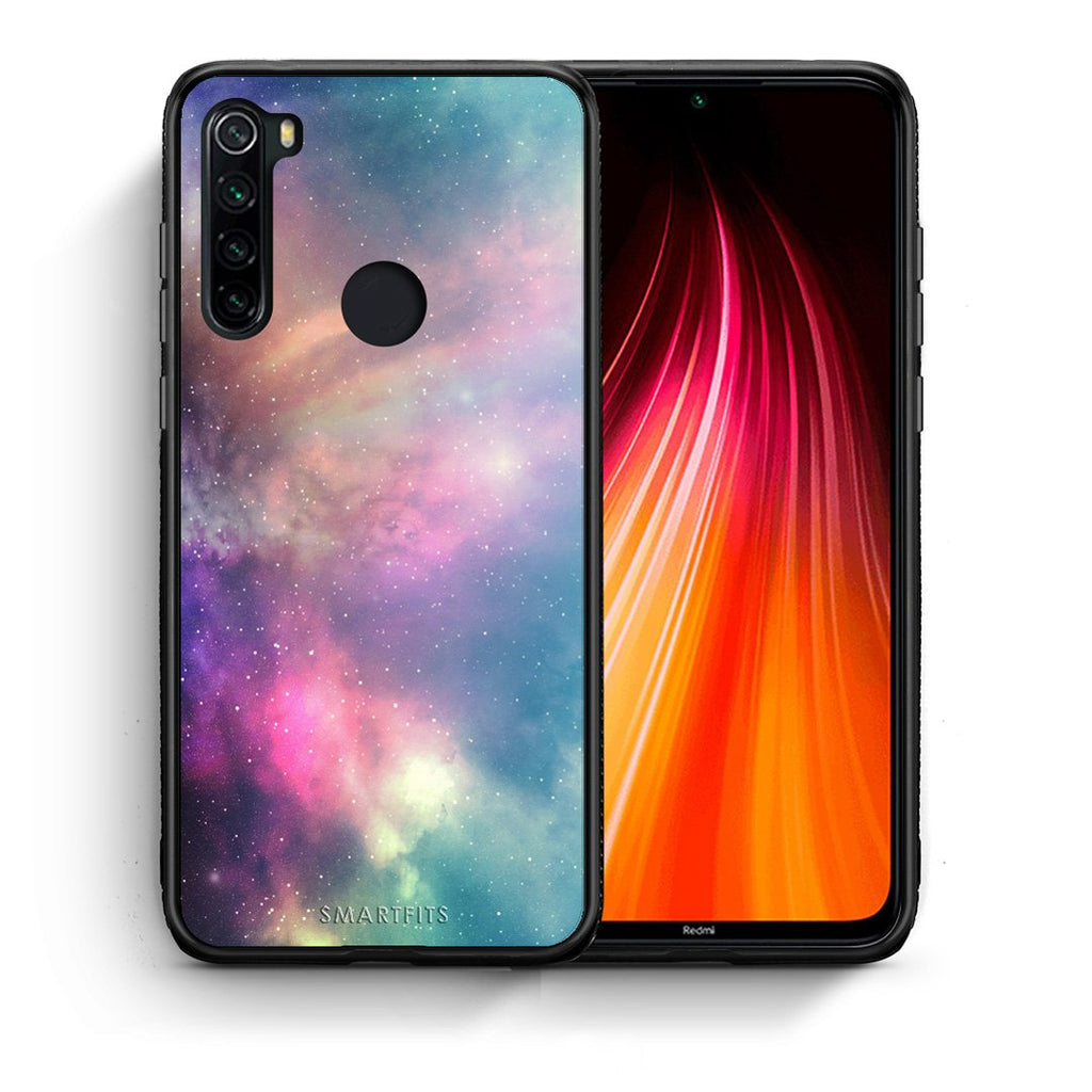 Θήκη Xiaomi Redmi Note 8 Rainbow Galaxy από τη Smartfits με σχέδιο στο πίσω μέρος και μαύρο περίβλημα | Xiaomi Redmi Note 8 Rainbow Galaxy case with colorful back and black bezels