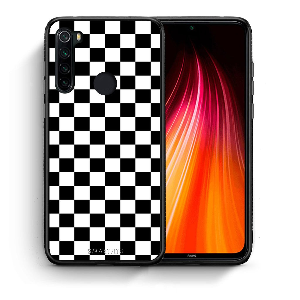 Θήκη Xiaomi Redmi Note 8 Squares Geometric από τη Smartfits με σχέδιο στο πίσω μέρος και μαύρο περίβλημα | Xiaomi Redmi Note 8 Squares Geometric case with colorful back and black bezels