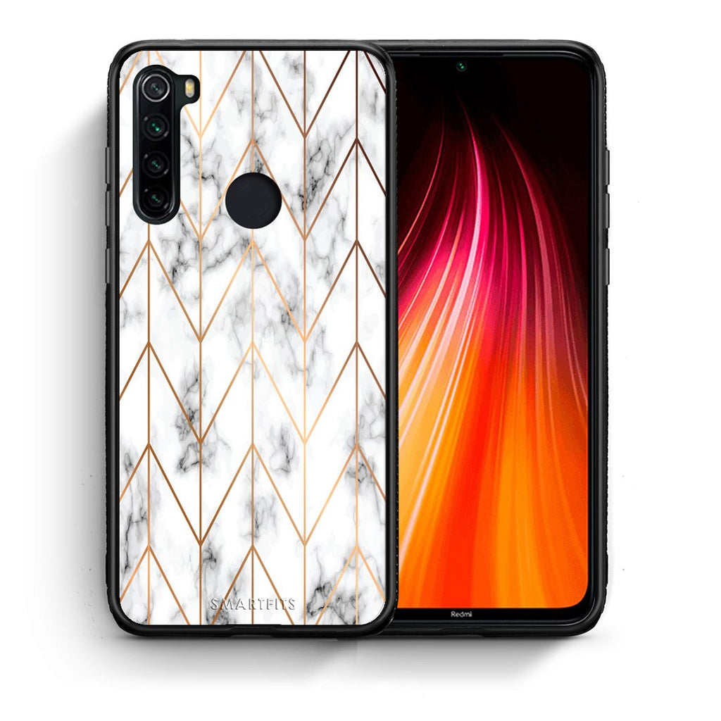 Θήκη Xiaomi Redmi Note 8 Gold Geometric Marble από τη Smartfits με σχέδιο στο πίσω μέρος και μαύρο περίβλημα | Xiaomi Redmi Note 8 Gold Geometric Marble case with colorful back and black bezels