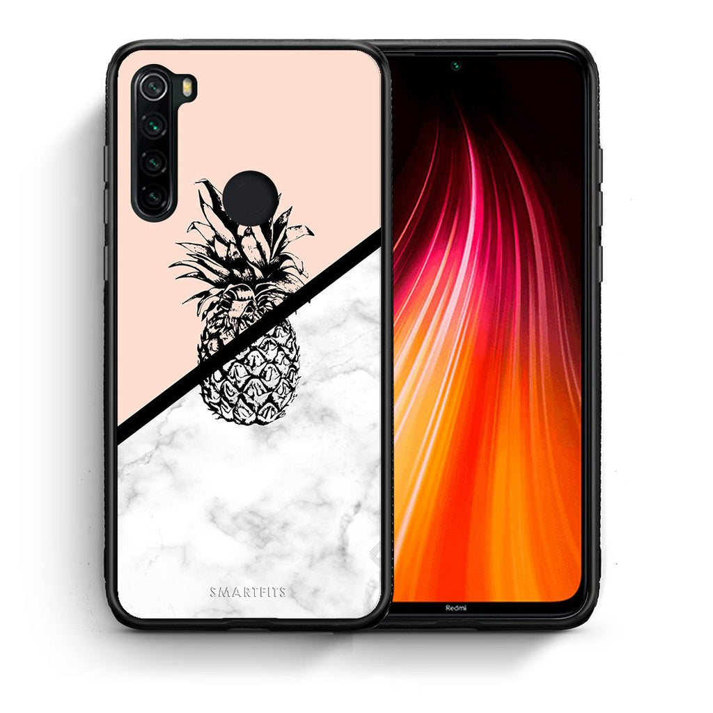 Θήκη Xiaomi Redmi Note 8 Pineapple Marble από τη Smartfits με σχέδιο στο πίσω μέρος και μαύρο περίβλημα | Xiaomi Redmi Note 8 Pineapple Marble case with colorful back and black bezels
