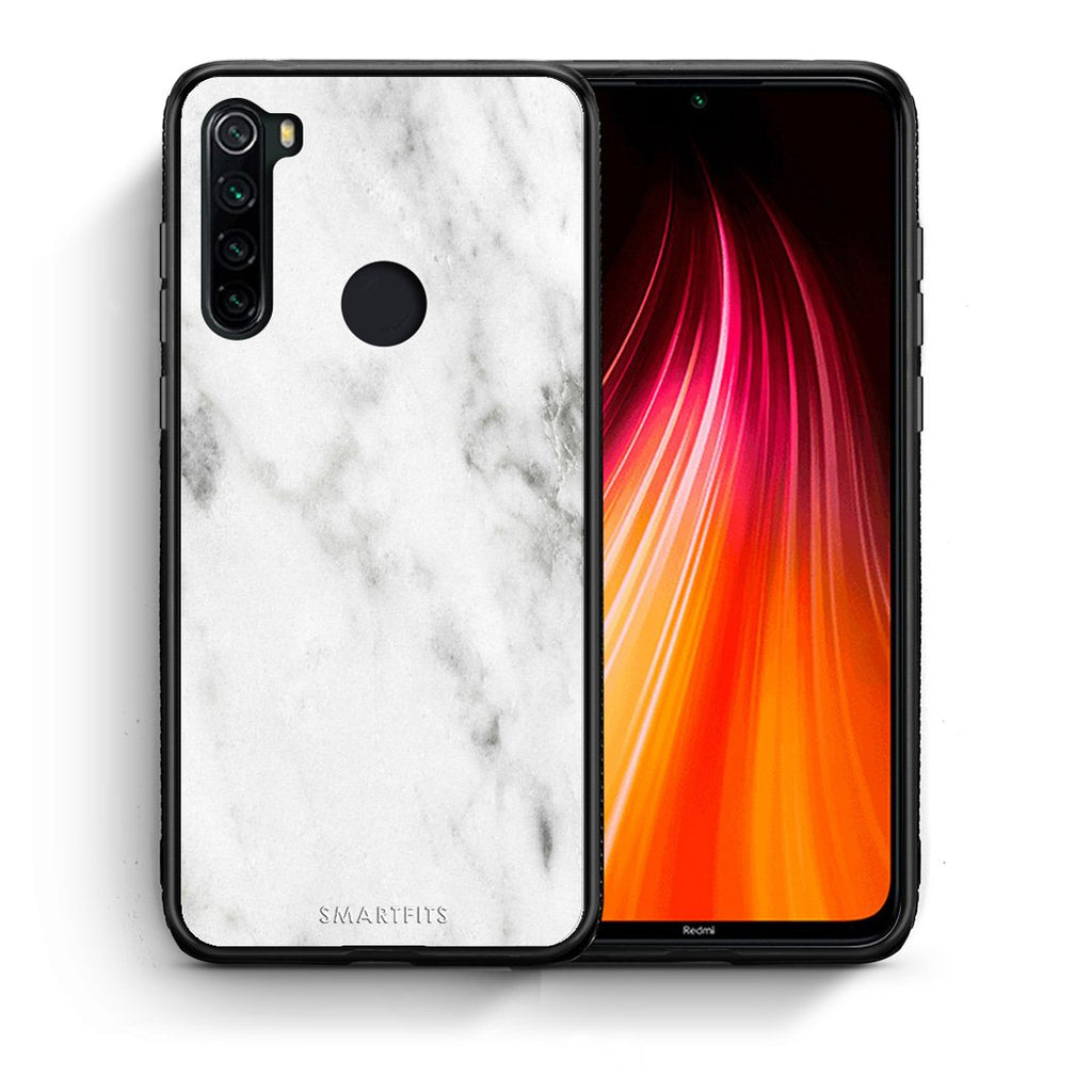 Θήκη Xiaomi Redmi Note 8 White Marble από τη Smartfits με σχέδιο στο πίσω μέρος και μαύρο περίβλημα | Xiaomi Redmi Note 8 White Marble case with colorful back and black bezels