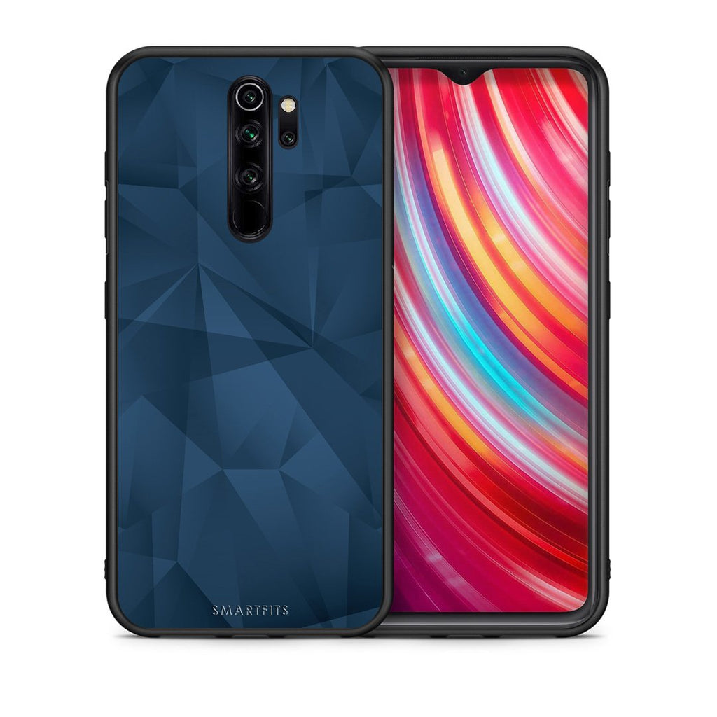 Θήκη Xiaomi Redmi Note 8 Pro Blue Abstract Geometric από τη Smartfits με σχέδιο στο πίσω μέρος και μαύρο περίβλημα | Xiaomi Redmi Note 8 Pro Blue Abstract Geometric case with colorful back and black bezels