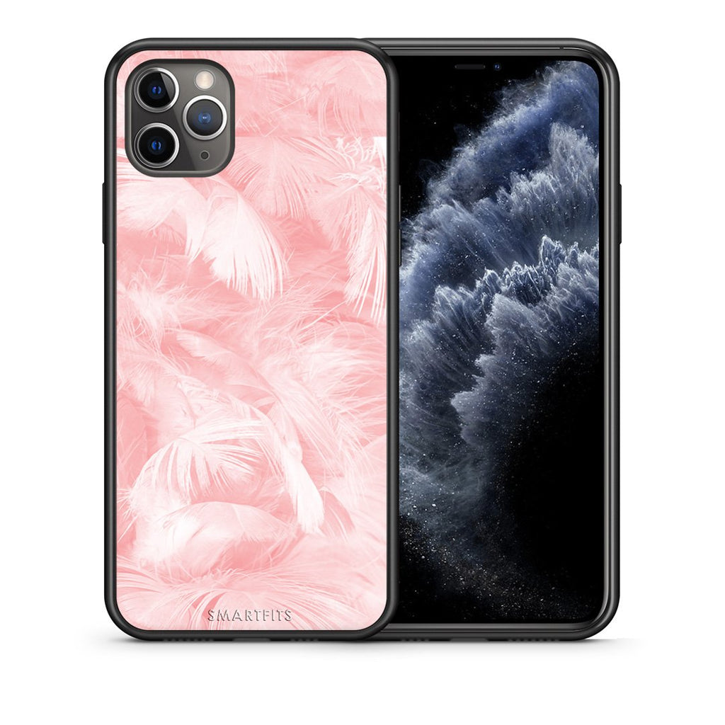 33 - iPhone 11 Pro Max  Pink Feather Boho case, cover, bumper