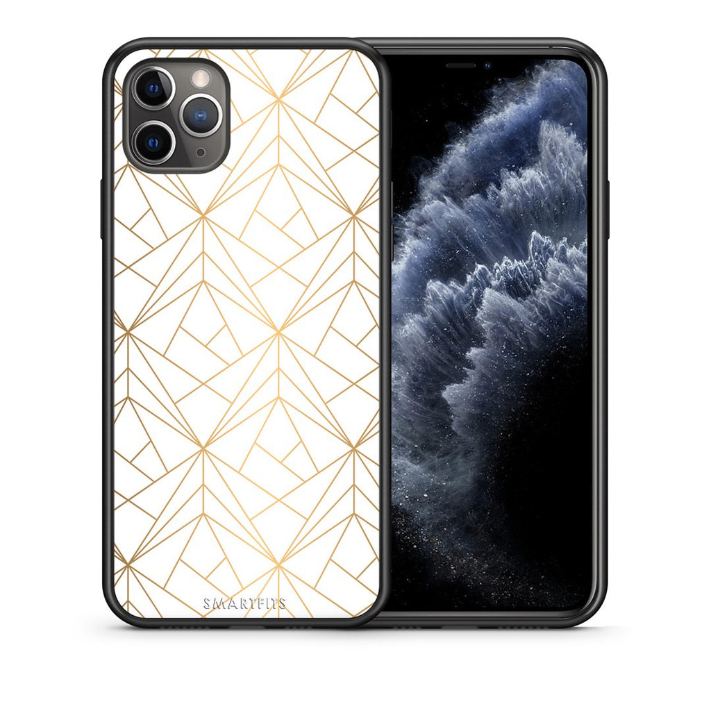 111 - iPhone 11 Pro Max  Luxury White Geometric case, cover, bumper