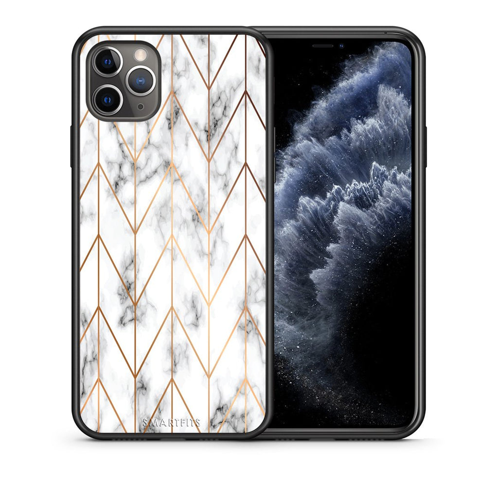 44 - iPhone 11 Pro Max  Gold Geometric Marble case, cover, bumper