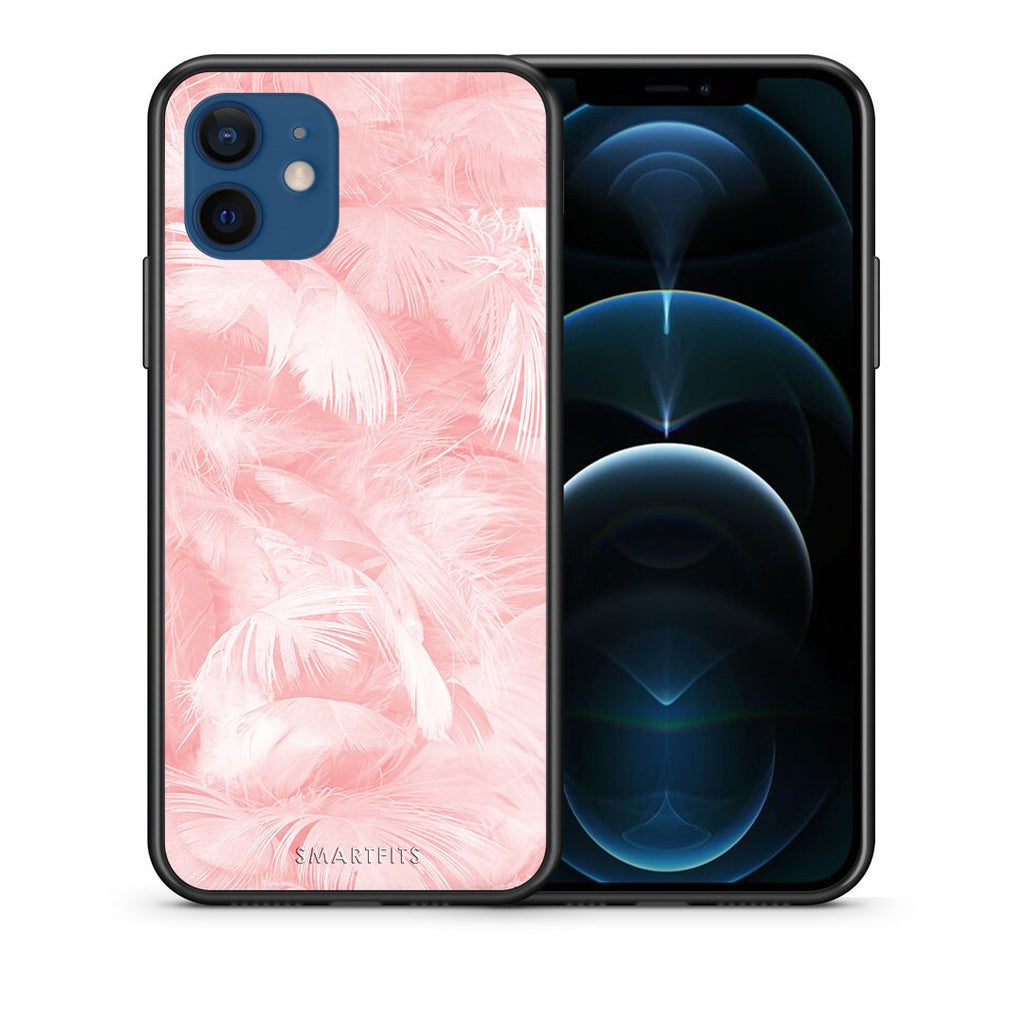 Θήκη iPhone 12/12 Pro Pink Feather Boho από τη Smartfits με σχέδιο στο πίσω μέρος και μαύρο περίβλημα | iPhone 12/12 Pro Pink Feather Boho case with colorful back and black bezels