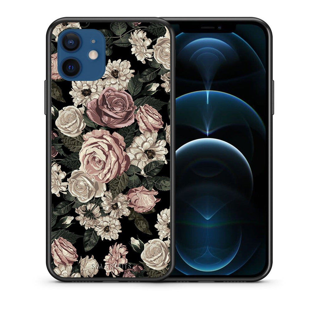 Θήκη iPhone 12/12 Pro Wild Roses Flower από τη Smartfits με σχέδιο στο πίσω μέρος και μαύρο περίβλημα | iPhone 12/12 Pro Wild Roses Flower case with colorful back and black bezels