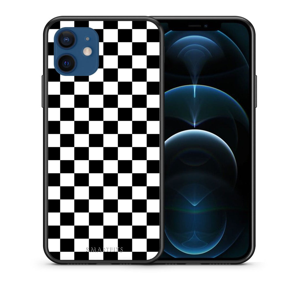 Θήκη iPhone 12/12 Pro Squares Geometric από τη Smartfits με σχέδιο στο πίσω μέρος και μαύρο περίβλημα | iPhone 12/12 Pro Squares Geometric case with colorful back and black bezels