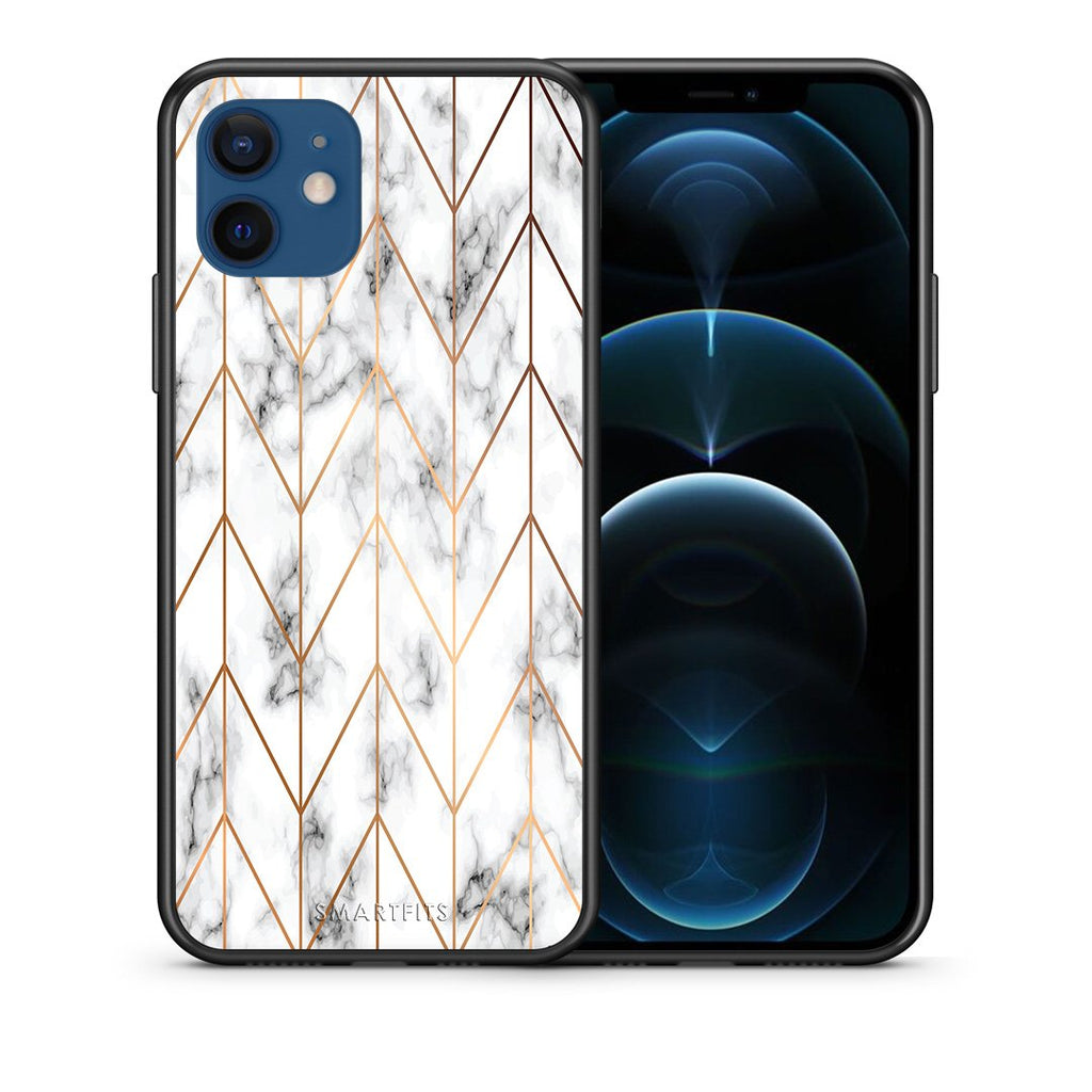 Θήκη iPhone 12/12 Pro Gold Geometric Marble από τη Smartfits με σχέδιο στο πίσω μέρος και μαύρο περίβλημα | iPhone 12/12 Pro Gold Geometric Marble case with colorful back and black bezels