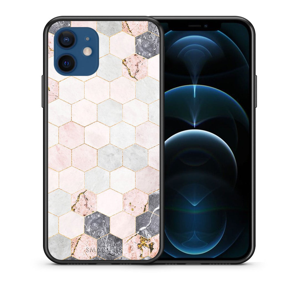 Θήκη iPhone 12/12 Pro Hexagon Pink Marble από τη Smartfits με σχέδιο στο πίσω μέρος και μαύρο περίβλημα | iPhone 12/12 Pro Hexagon Pink Marble case with colorful back and black bezels