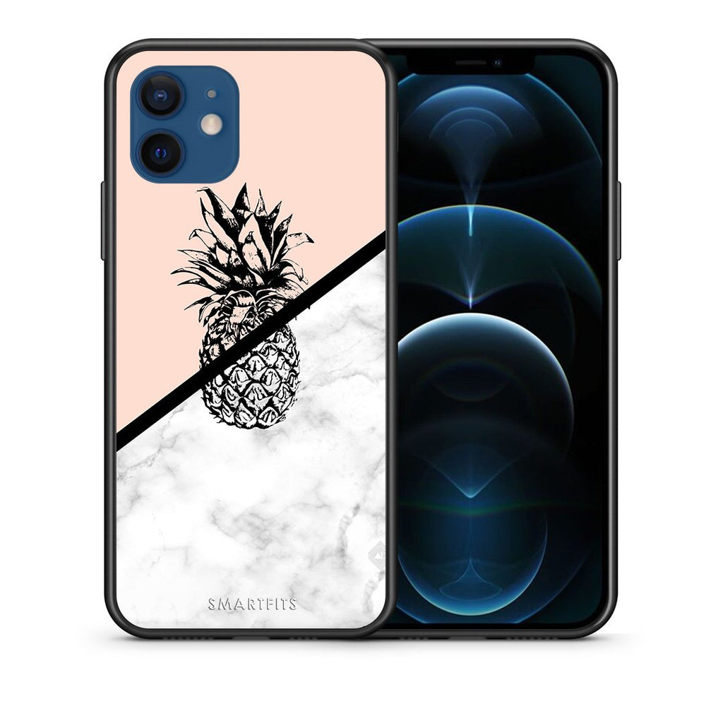 Θήκη iPhone 12/12 Pro Pineapple Marble από τη Smartfits με σχέδιο στο πίσω μέρος και μαύρο περίβλημα | iPhone 12/12 Pro Pineapple Marble case with colorful back and black bezels
