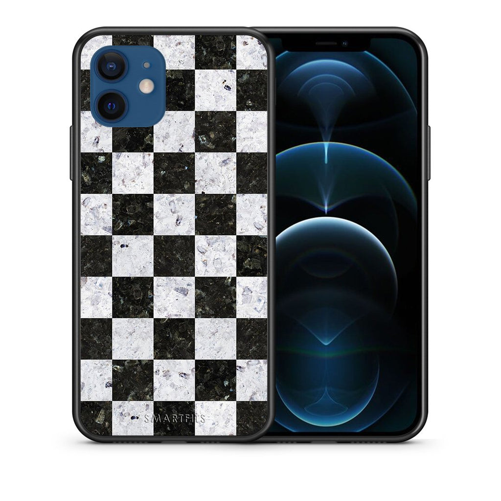 Θήκη iPhone 12/12 Pro Square Geometric Marble από τη Smartfits με σχέδιο στο πίσω μέρος και μαύρο περίβλημα | iPhone 12/12 Pro Square Geometric Marble case with colorful back and black bezels