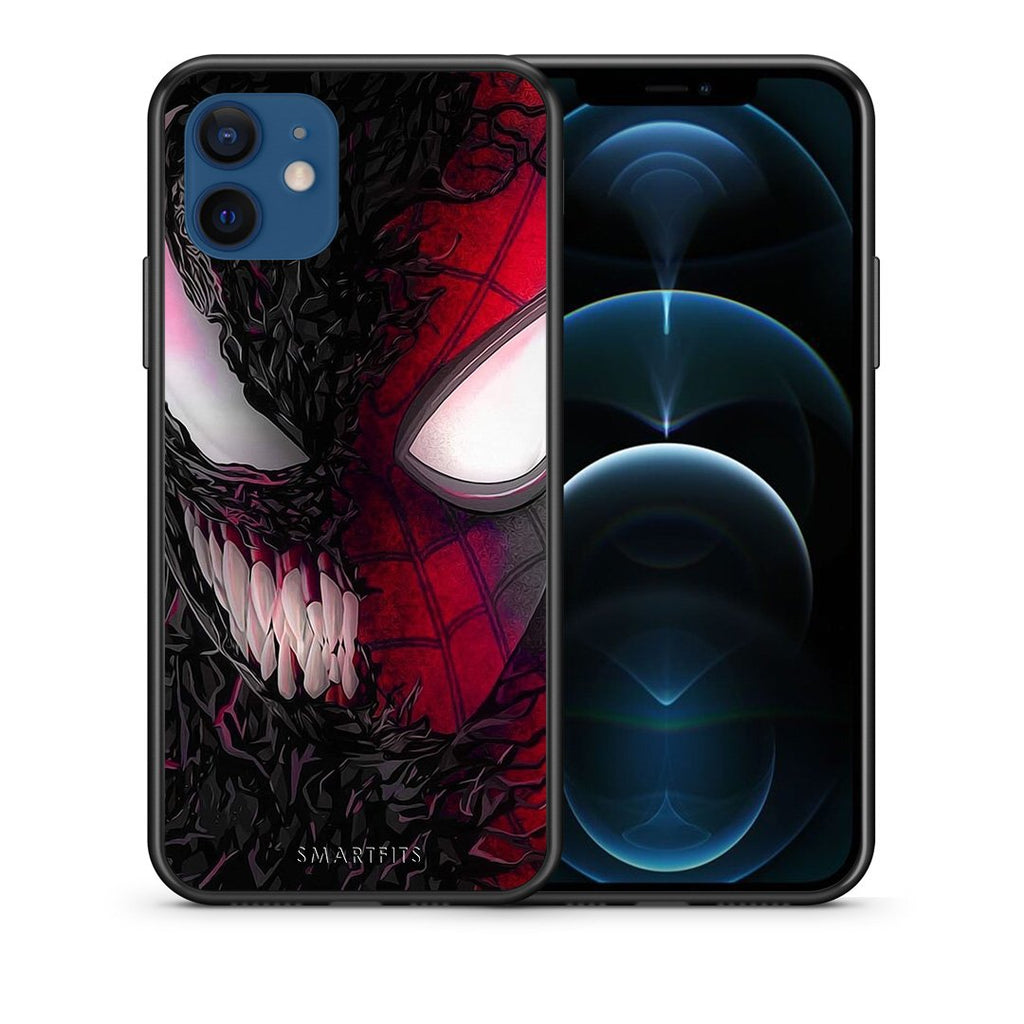 Θήκη iPhone 12/12 Pro SpiderVenom PopArt από τη Smartfits με σχέδιο στο πίσω μέρος και μαύρο περίβλημα | iPhone 12/12 Pro SpiderVenom PopArt case with colorful back and black bezels