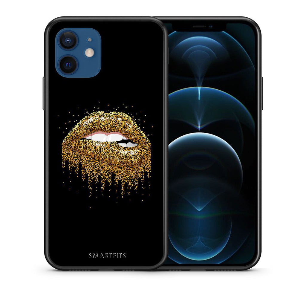 Θήκη iPhone 12/12 Pro Golden Valentine από τη Smartfits με σχέδιο στο πίσω μέρος και μαύρο περίβλημα | iPhone 12/12 Pro Golden Valentine case with colorful back and black bezels