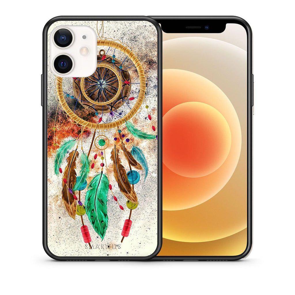 Θήκη iPhone 12 Mini DreamCatcher Boho από τη Smartfits με σχέδιο στο πίσω μέρος και μαύρο περίβλημα | iPhone 12 Mini DreamCatcher Boho case with colorful back and black bezels