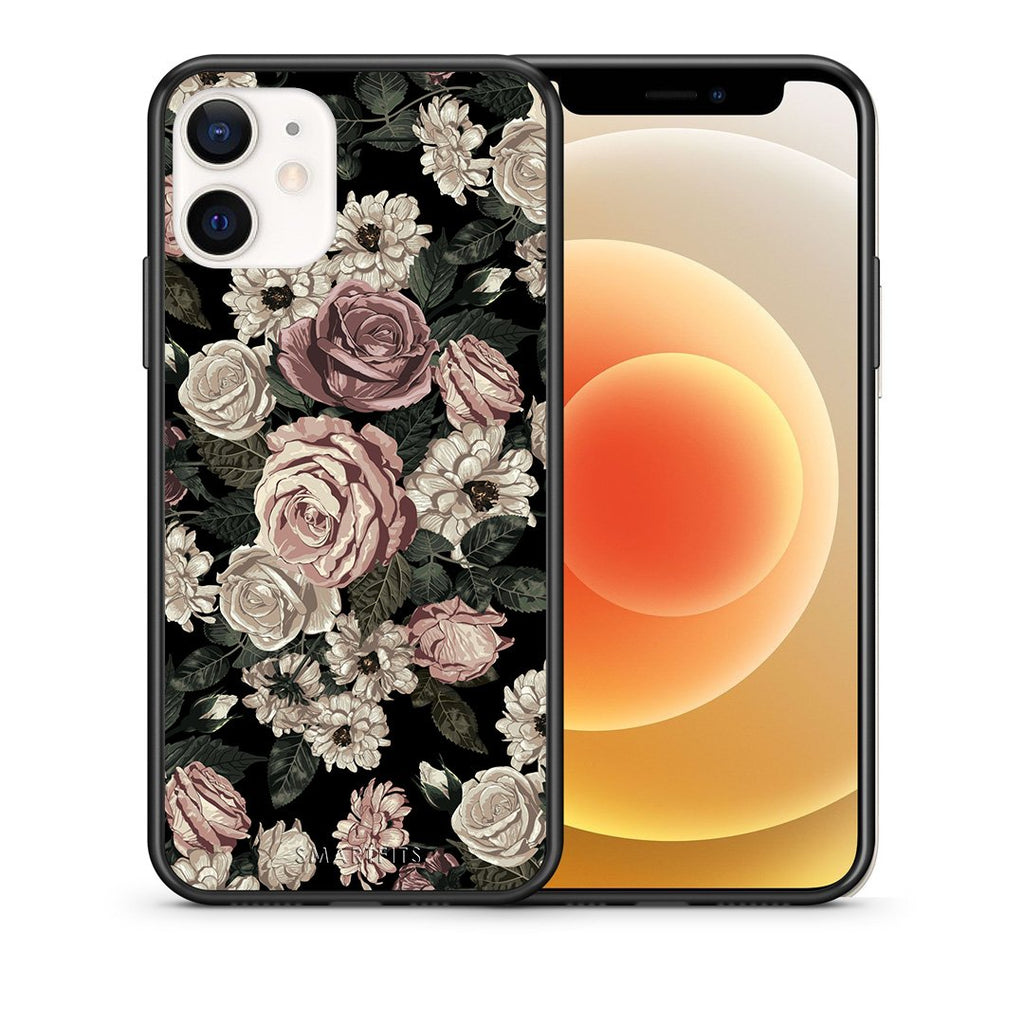 Θήκη iPhone 12 Mini Wild Roses Flower από τη Smartfits με σχέδιο στο πίσω μέρος και μαύρο περίβλημα | iPhone 12 Mini Wild Roses Flower case with colorful back and black bezels