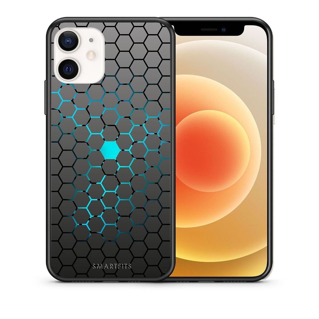 Θήκη iPhone 12 Mini Hexagonal Geometric από τη Smartfits με σχέδιο στο πίσω μέρος και μαύρο περίβλημα | iPhone 12 Mini Hexagonal Geometric case with colorful back and black bezels