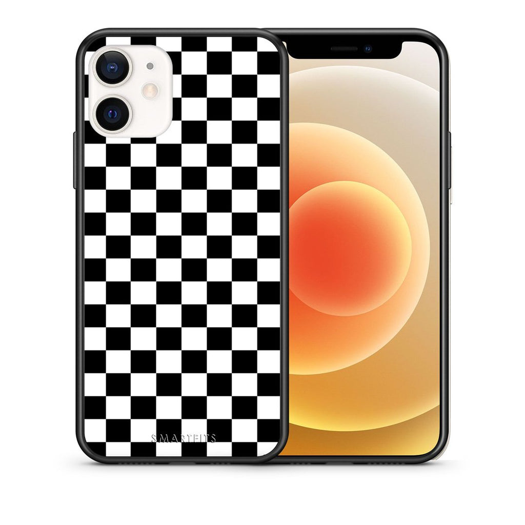 Θήκη iPhone 12 Mini Squares Geometric από τη Smartfits με σχέδιο στο πίσω μέρος και μαύρο περίβλημα | iPhone 12 Mini Squares Geometric case with colorful back and black bezels