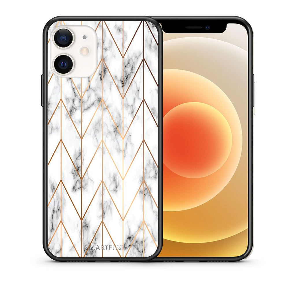 Θήκη iPhone 12 Mini Gold Geometric Marble από τη Smartfits με σχέδιο στο πίσω μέρος και μαύρο περίβλημα | iPhone 12 Mini Gold Geometric Marble case with colorful back and black bezels