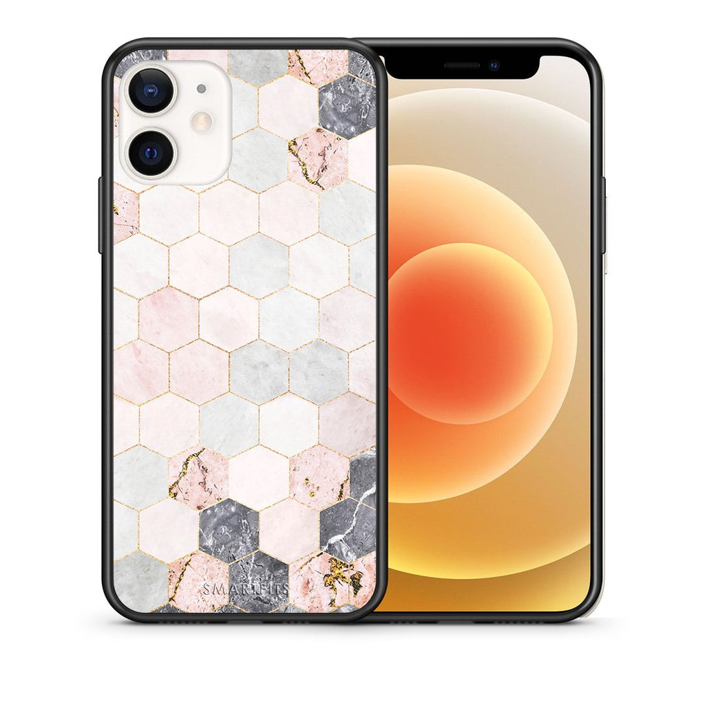 Θήκη iPhone 12 Mini Hexagon Pink Marble από τη Smartfits με σχέδιο στο πίσω μέρος και μαύρο περίβλημα | iPhone 12 Mini Hexagon Pink Marble case with colorful back and black bezels