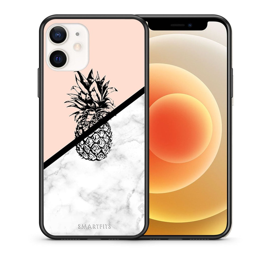 Θήκη iPhone 12 Mini Pineapple Marble από τη Smartfits με σχέδιο στο πίσω μέρος και μαύρο περίβλημα | iPhone 12 Mini Pineapple Marble case with colorful back and black bezels