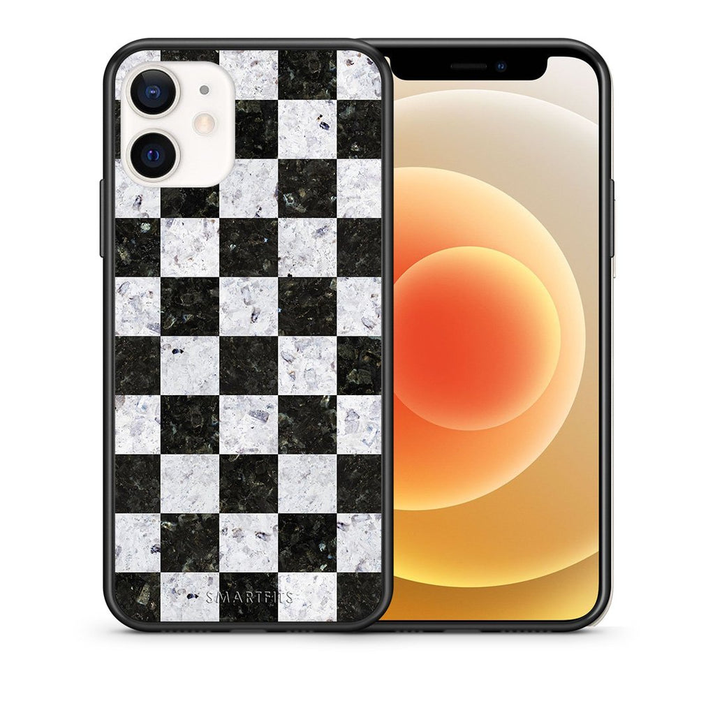 Θήκη iPhone 12 Mini Square Geometric Marble από τη Smartfits με σχέδιο στο πίσω μέρος και μαύρο περίβλημα | iPhone 12 Mini Square Geometric Marble case with colorful back and black bezels