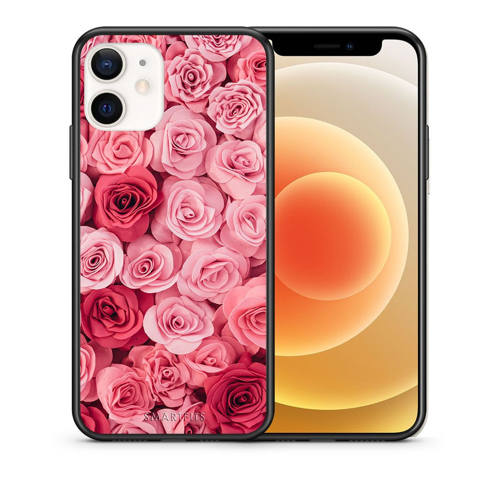 Θήκη iPhone 12 Mini RoseGarden Valentine από τη Smartfits με σχέδιο στο πίσω μέρος και μαύρο περίβλημα | iPhone 12 Mini RoseGarden Valentine case with colorful back and black bezels