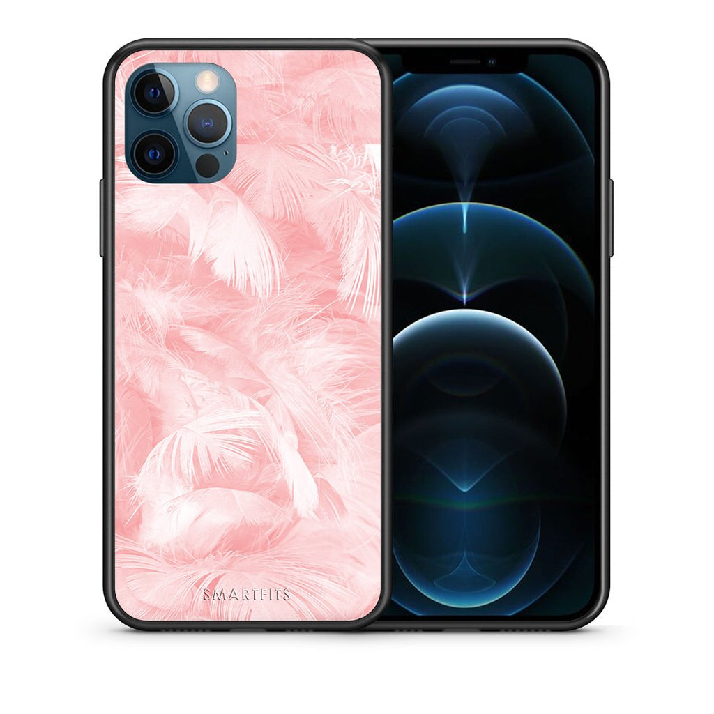 Θήκη iPhone 12 Pro Max Pink Feather Boho από τη Smartfits με σχέδιο στο πίσω μέρος και μαύρο περίβλημα | iPhone 12 Pro Max Pink Feather Boho case with colorful back and black bezels