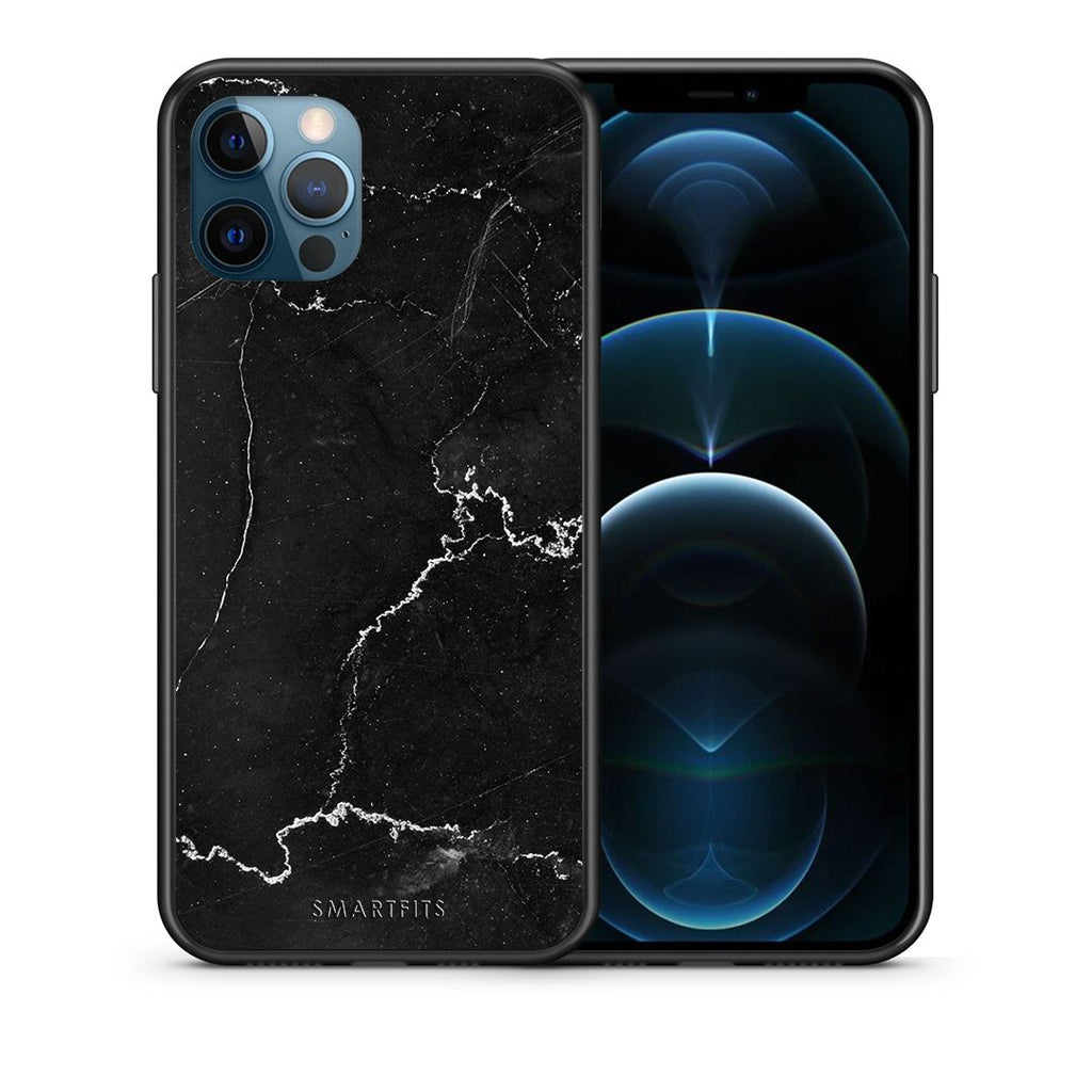 Θήκη iPhone 12 Pro Max Black Marble από τη Smartfits με σχέδιο στο πίσω μέρος και μαύρο περίβλημα | iPhone 12 Pro Max Black Marble case with colorful back and black bezels