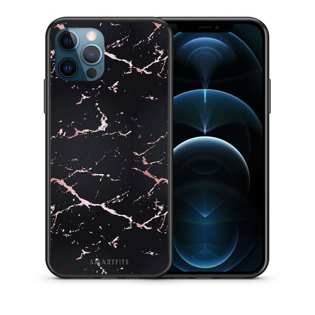 Θήκη iPhone 12 Pro Max Black Rosegold Marble από τη Smartfits με σχέδιο στο πίσω μέρος και μαύρο περίβλημα | iPhone 12 Pro Max Black Rosegold Marble case with colorful back and black bezels