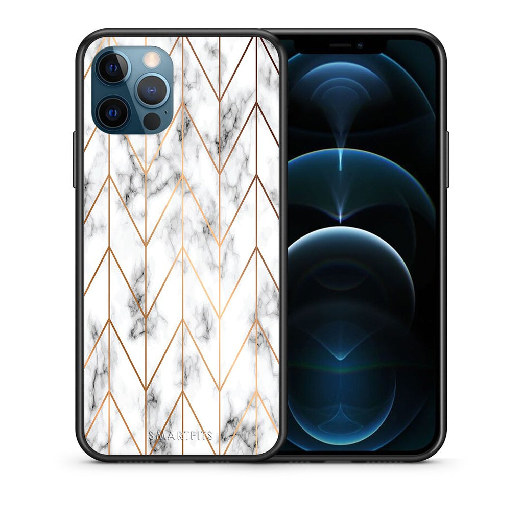 Θήκη iPhone 12 Pro Max Gold Geometric Marble από τη Smartfits με σχέδιο στο πίσω μέρος και μαύρο περίβλημα | iPhone 12 Pro Max Gold Geometric Marble case with colorful back and black bezels