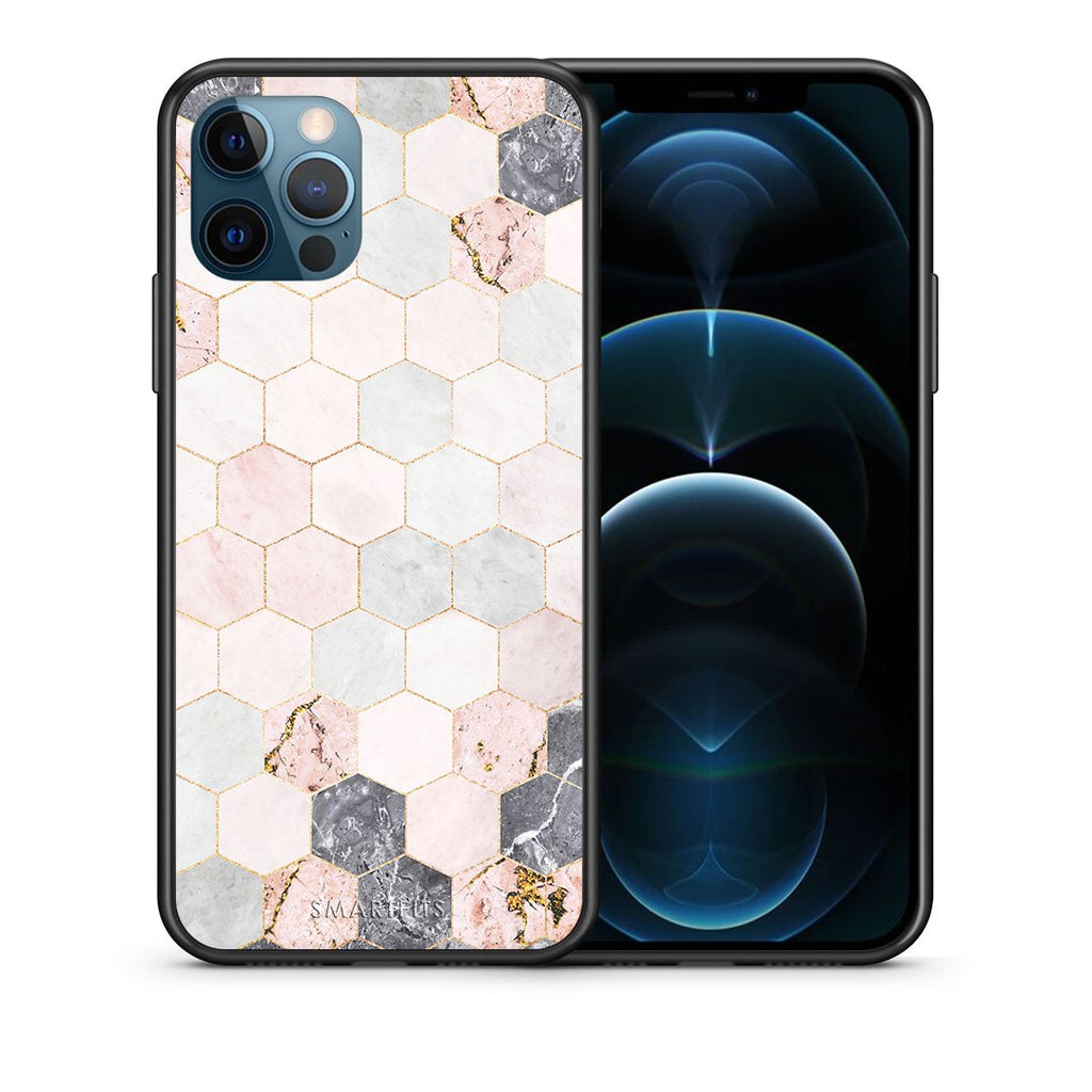 Θήκη iPhone 12 Pro Max Hexagon Pink Marble από τη Smartfits με σχέδιο στο πίσω μέρος και μαύρο περίβλημα | iPhone 12 Pro Max Hexagon Pink Marble case with colorful back and black bezels