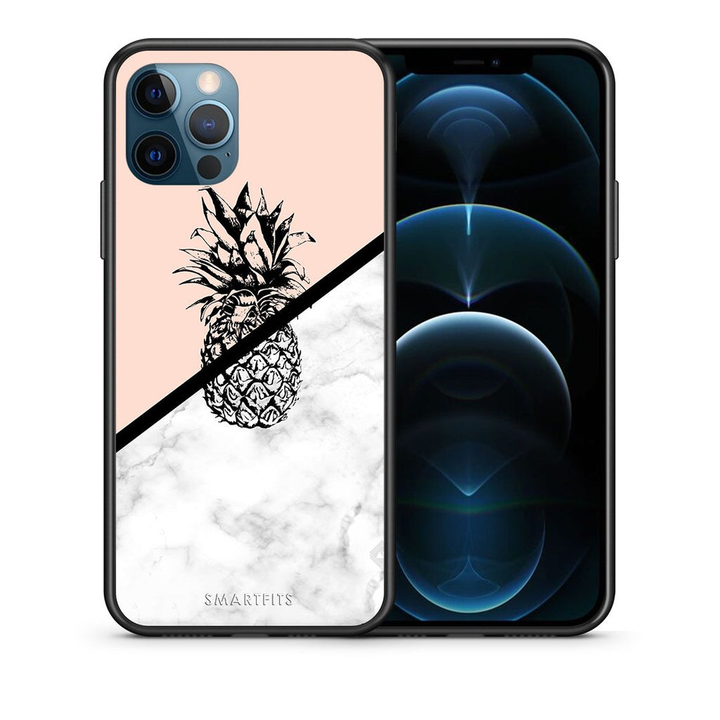 Θήκη iPhone 12 Pro Max Pineapple Marble από τη Smartfits με σχέδιο στο πίσω μέρος και μαύρο περίβλημα | iPhone 12 Pro Max Pineapple Marble case with colorful back and black bezels