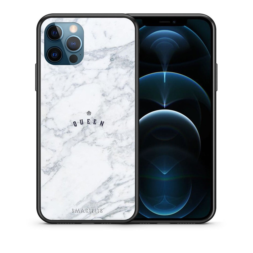 Θήκη iPhone 12 Pro Max Queen Marble από τη Smartfits με σχέδιο στο πίσω μέρος και μαύρο περίβλημα | iPhone 12 Pro Max Queen Marble case with colorful back and black bezels