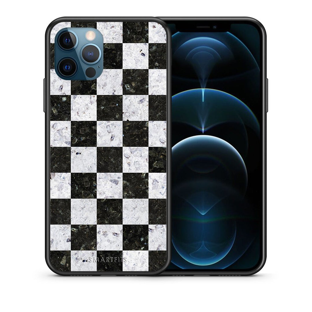 Θήκη iPhone 12 Pro Max Square Geometric Marble από τη Smartfits με σχέδιο στο πίσω μέρος και μαύρο περίβλημα | iPhone 12 Pro Max Square Geometric Marble case with colorful back and black bezels