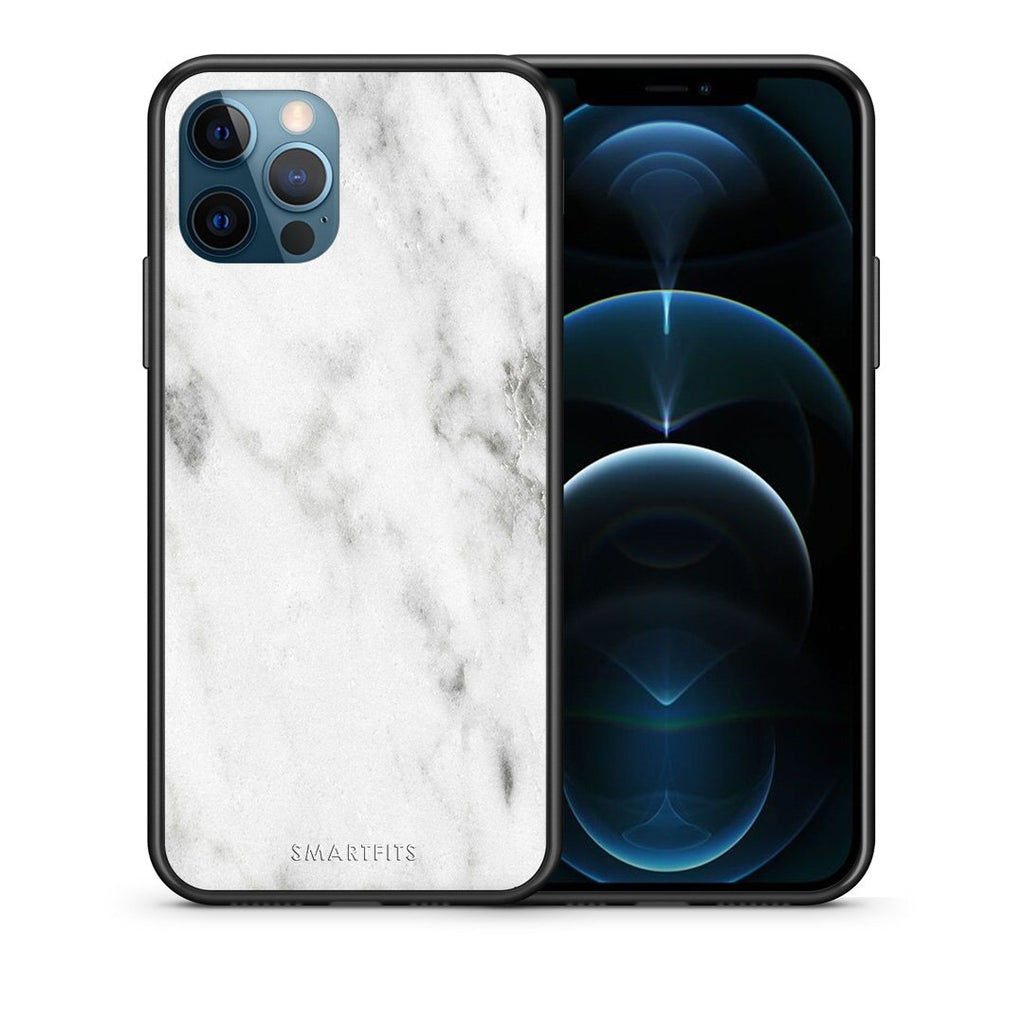 Θήκη iPhone 12 Pro Max White Marble από τη Smartfits με σχέδιο στο πίσω μέρος και μαύρο περίβλημα | iPhone 12 Pro Max White Marble case with colorful back and black bezels