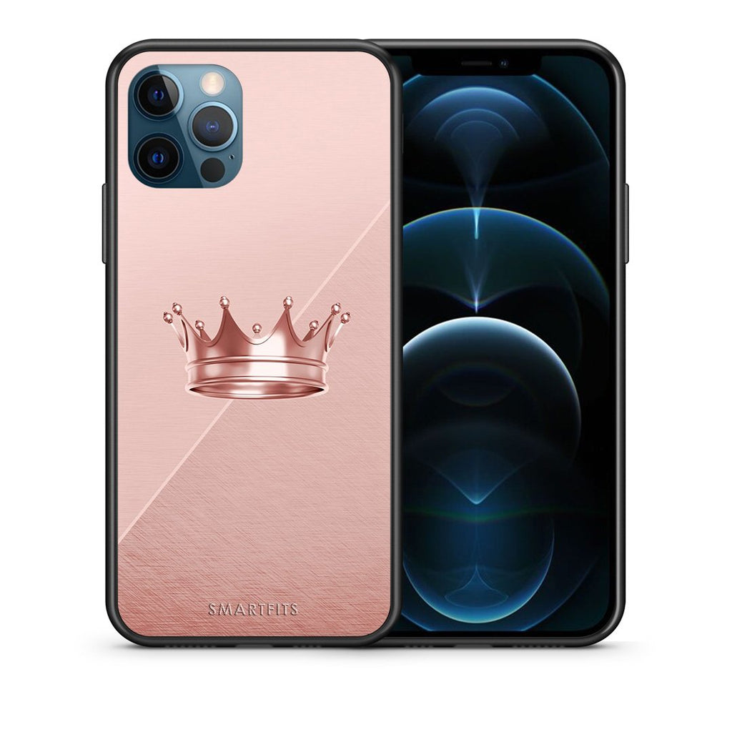 Θήκη iPhone 12 Pro Max Crown Minimal από τη Smartfits με σχέδιο στο πίσω μέρος και μαύρο περίβλημα | iPhone 12 Pro Max Crown Minimal case with colorful back and black bezels