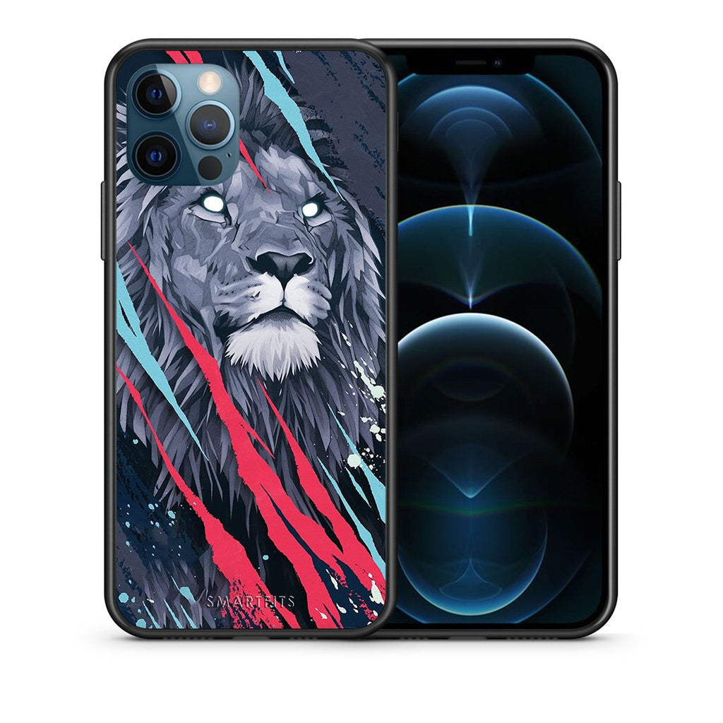 Θήκη iPhone 12 Pro Max Lion Designer PopArt από τη Smartfits με σχέδιο στο πίσω μέρος και μαύρο περίβλημα | iPhone 12 Pro Max Lion Designer PopArt case with colorful back and black bezels