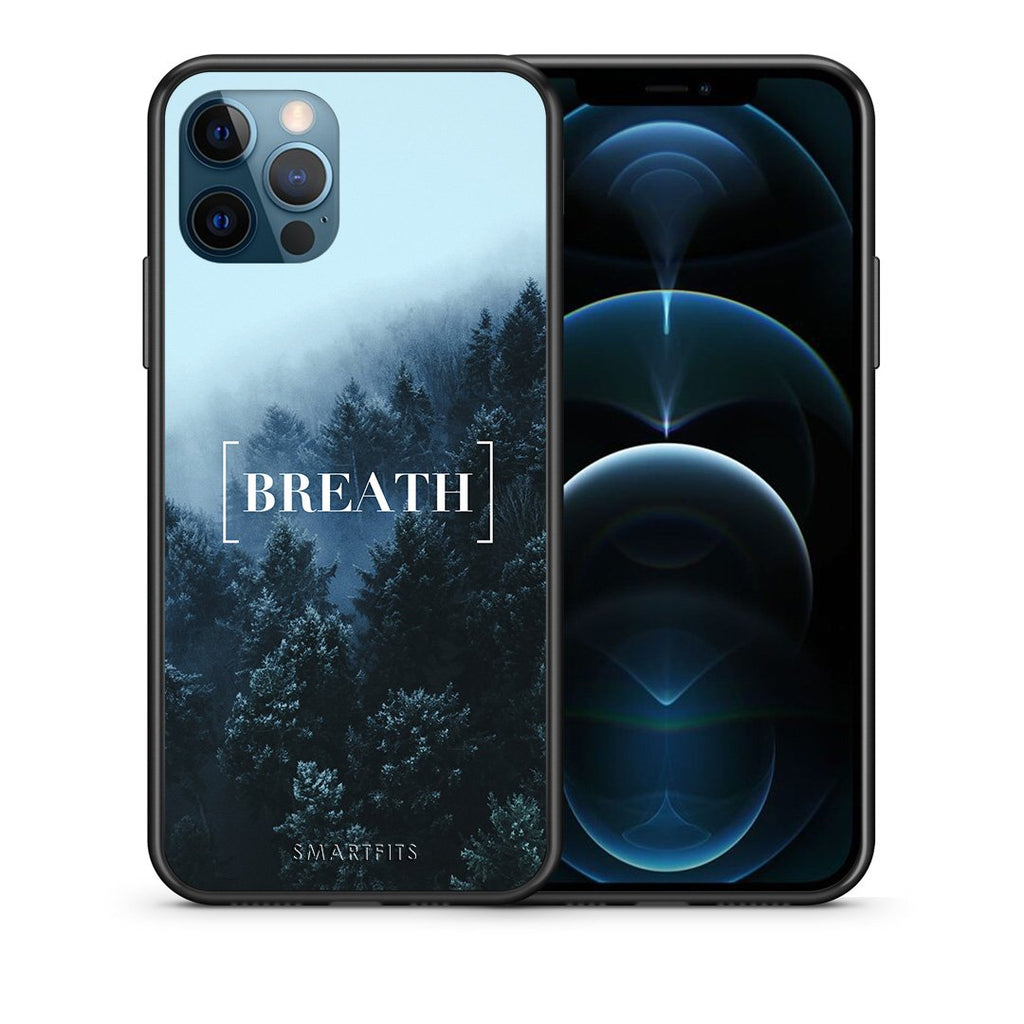 Θήκη iPhone 12 Pro Max Breath Quote από τη Smartfits με σχέδιο στο πίσω μέρος και μαύρο περίβλημα | iPhone 12 Pro Max Breath Quote case with colorful back and black bezels