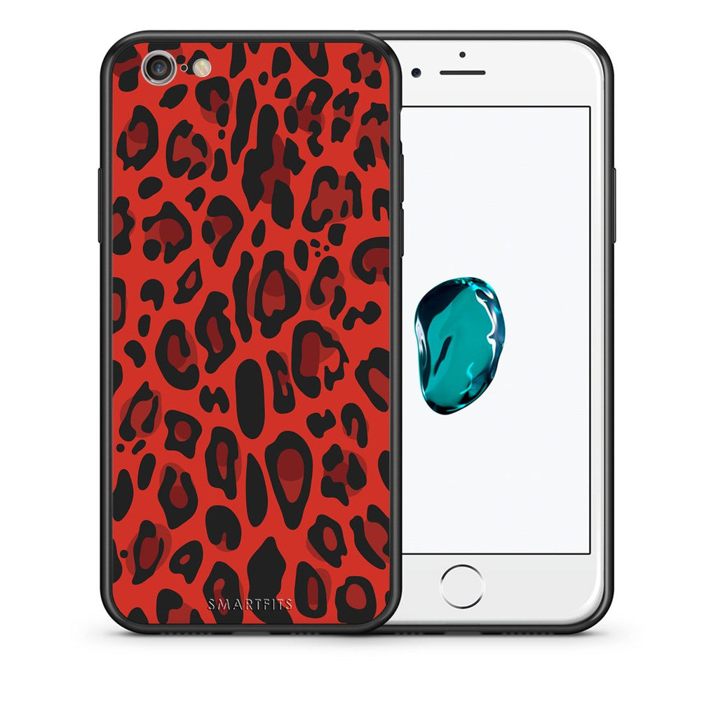 4 - iphone 6 6s Red Leopard Animal case, cover, bumper