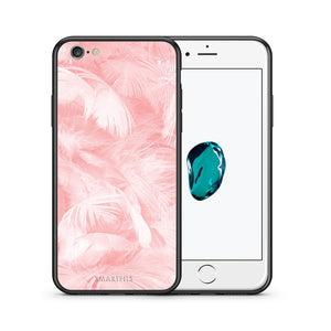 Θήκη iPhone 6 Plus/6s Plus Pink Feather Boho από τη Smartfits με σχέδιο στο πίσω μέρος και μαύρο περίβλημα | iPhone 6 Plus/6s Plus Pink Feather Boho case with colorful back and black bezels