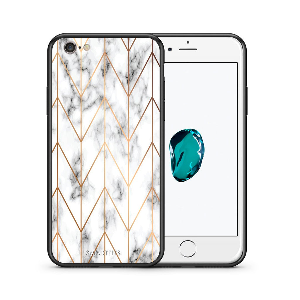 44 - iPhone 7/8 Gold Geometric Marble case, cover, bumper